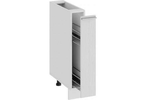 Шкаф напольный с выдвижной корзиной «Ольга» (Белый/Белый) - фото 2