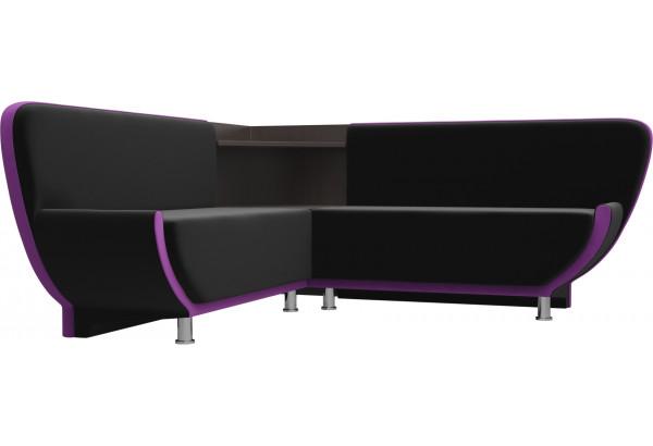 Кухонный угловой диван Лотос черный/фиолетовый (Микровельвет) - фото 3