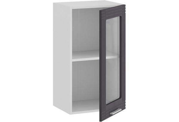 Шкаф навесной c одной дверью со стеклом «Ольга» (Белый/Графит) - фото 2