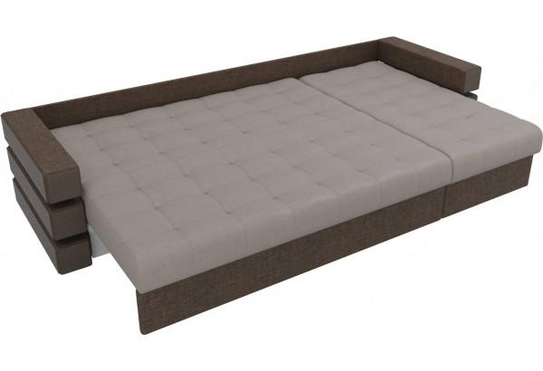 Угловой диван Венеция бежевый/коричневый (Рогожка) - фото 7