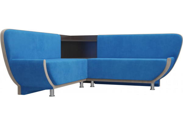 Кухонный угловой диван Лотос голубой/бежевый (Велюр) - фото 4