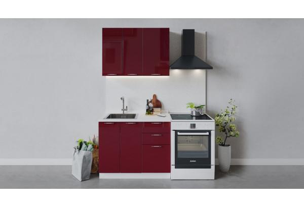Кухонный гарнитур «Весна» длиной 100 см (Белый/Бордо глянец) - фото 1