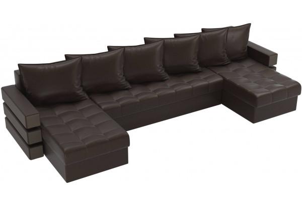 П-образный диван Венеция Коричневый (Экокожа) - фото 4