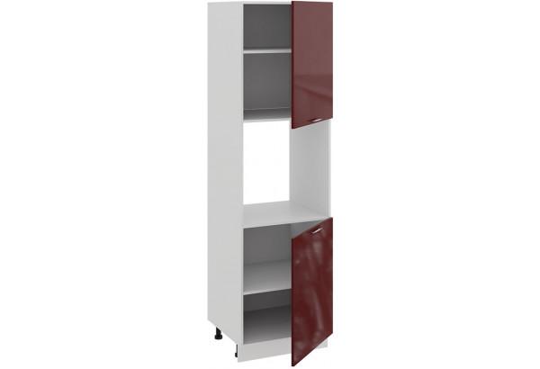 Шкаф-пенал под бытовую технику с двумя дверями «Весна» (Белый/Бордо глянец) - фото 2
