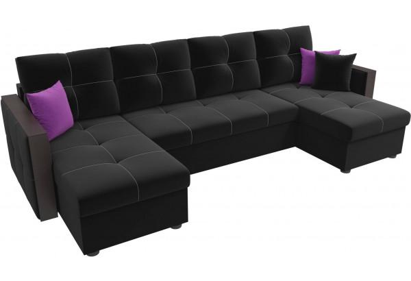 П-образный диван Валенсия Черный (Микровельвет) - фото 4