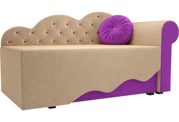Детская кровать Тедди-1 бежевый/фиолетовый (Микровельвет) - фото 1