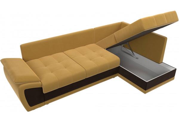 Угловой диван Нэстор прайм Желтый/коричневый (Микровельвет) - фото 7