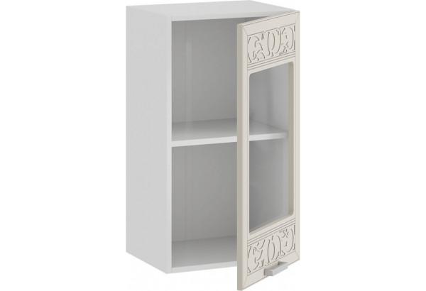 Шкаф навесной c одной дверью со стеклом «Долорес» (Белый/Крем) - фото 2