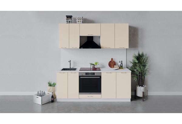Кухонный гарнитур «Весна» длиной 200 см со шкафом НБ (Белый/Ваниль глянец) - фото 1