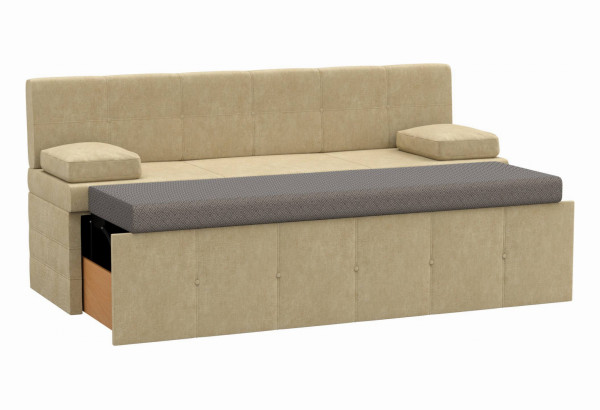 Кухонный прямой диван Лео Бежевый (Микровельвет) - фото 2