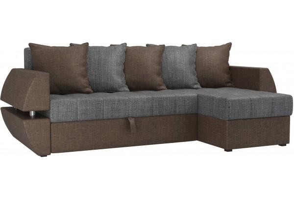 Угловой диван Атлантида У/Т Серый/коричневый (Рогожка) - фото 1