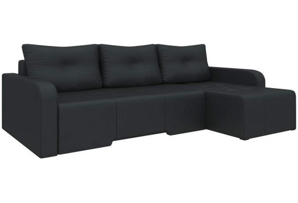 Угловой диван Манхеттен Черный (Экокожа) - фото 1