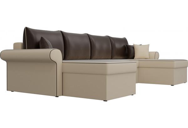 П-образный диван Милфорд бежевый/коричневый (Экокожа) - фото 3