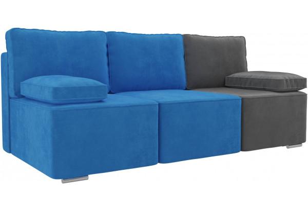 Диван прямой Радуга Голубой/Голубой/Серый (Велюр) - фото 1