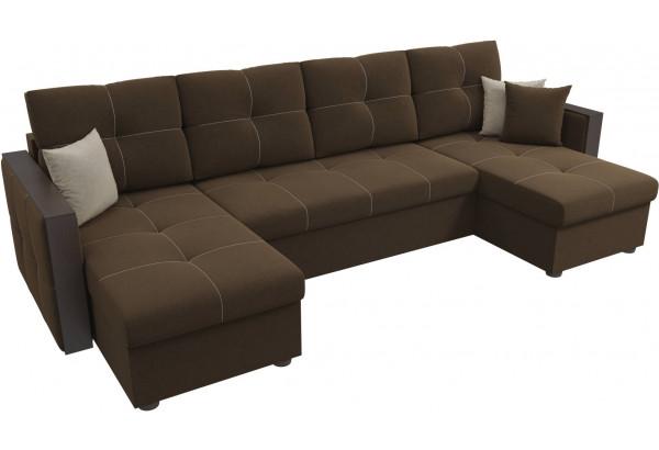 П-образный диван Валенсия Коричневый (Микровельвет) - фото 4
