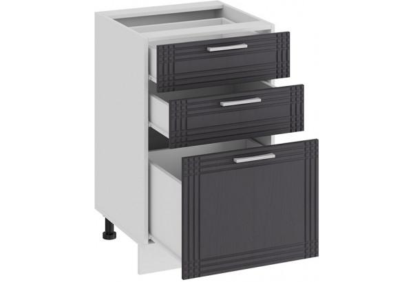 Шкаф напольный с тремя ящиками «Ольга» (Белый/Графит) - фото 2