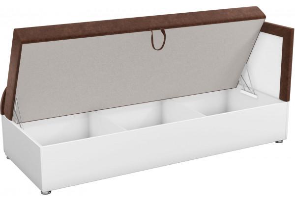 Детский диван Дюна коричневый/белый (Микровельвет) - фото 2