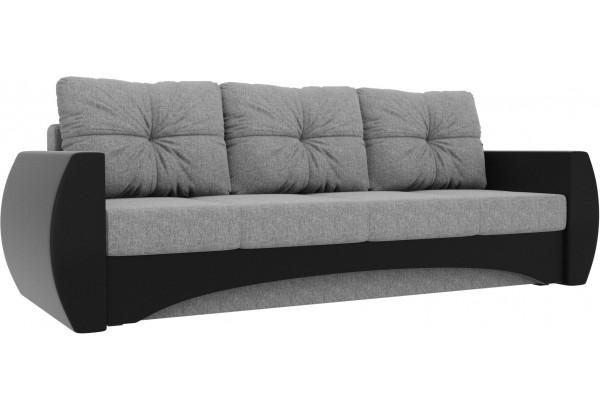 Прямой диван Сатурн Серый/черный (Рогожка/Экокожа) - фото 1