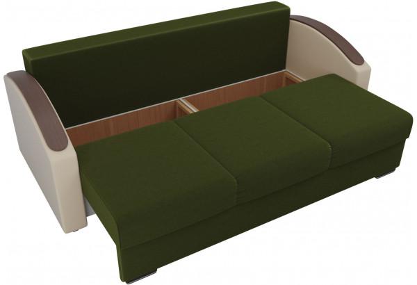 Прямой диван Монако slide Зеленый/Бежевый (Микровельвет/Экокожа/флок на рогожке) - фото 6