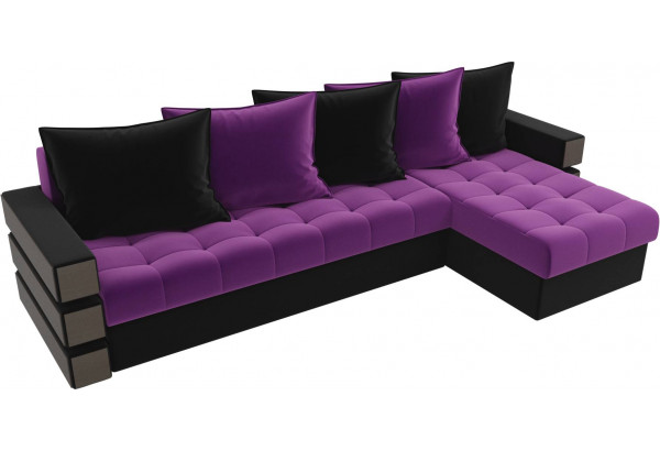Угловой диван Венеция Фиолетовый/Черный (Микровельвет) - фото 4