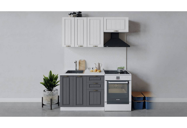 Кухонный гарнитур «Лина» длиной 160 см (Белый/Белый/Графит) - фото 1