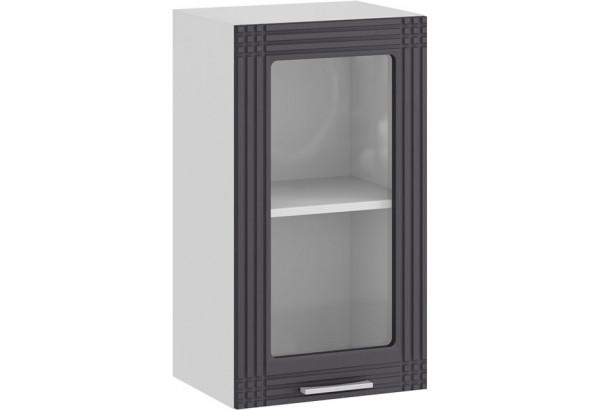 Шкаф навесной c одной дверью со стеклом «Ольга» (Белый/Графит) - фото 1