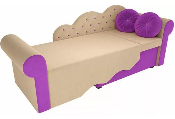 Детская кровать Тедди-2 бежевый/фиолетовый (Микровельвет) - фото 3