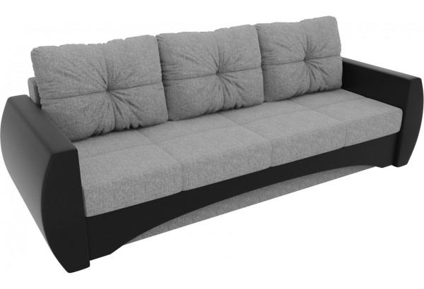 Прямой диван Сатурн Серый/черный (Рогожка/Экокожа) - фото 4