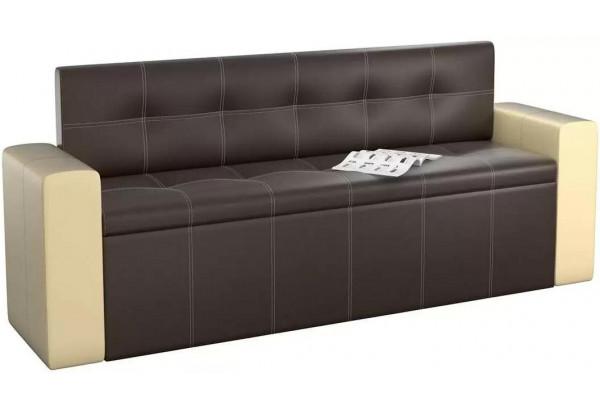 Кухонный прямой диван Династия Коричневый/Бежевый (Экокожа) - фото 1