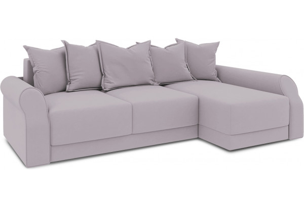 Диван угловой правый «Люксор Т2» (Poseidon Pale Lavender (иск.замша) бледно-лавандовый) - фото 1