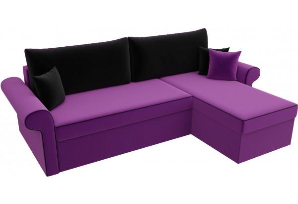 Угловой диван Милфорд Фиолетовый/Черный (Микровельвет) - фото 4
