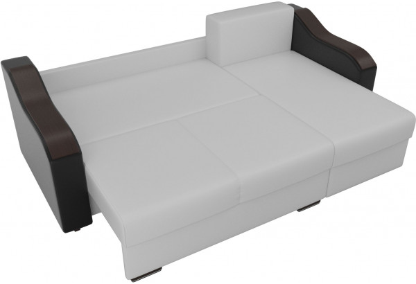Угловой диван Монако Белый/Черный/Цветы (Экокожа/рогожка) - фото 7