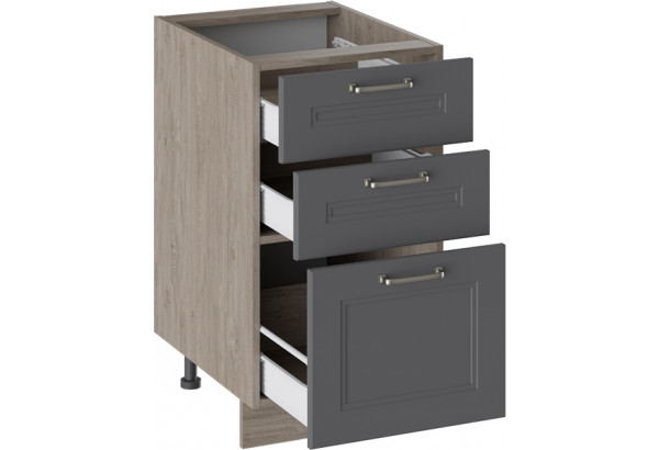 Шкаф напольный с 3-мя ящиками ОДРИ (Серый шелк) - фото 2