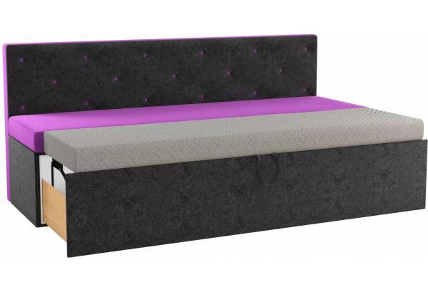 Кухонный прямой диван Салвадор Фиолетовый/Черный (Микровельвет) - фото 2