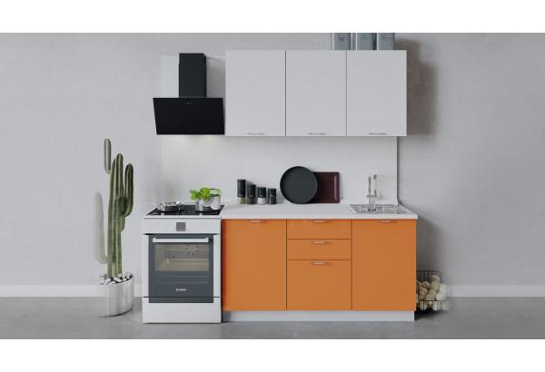 Кухонный гарнитур «Весна» длиной 150 см (Белый/Белый глянец/Оранж глянец) - фото 1