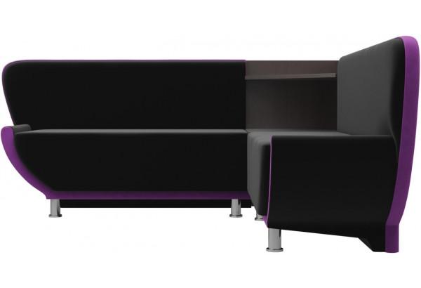 Кухонный угловой диван Лотос черный/фиолетовый (Микровельвет) - фото 2