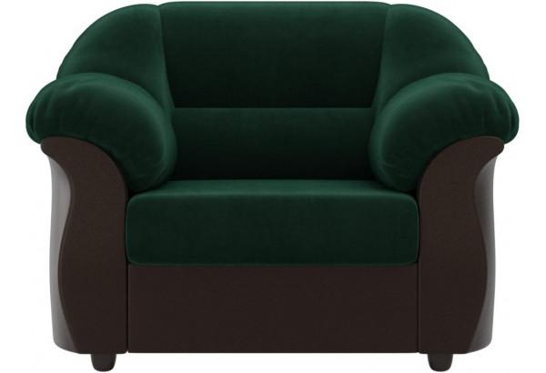 Кресло Карнелла зеленый/коричневый (Велюр/Экокожа) - фото 2