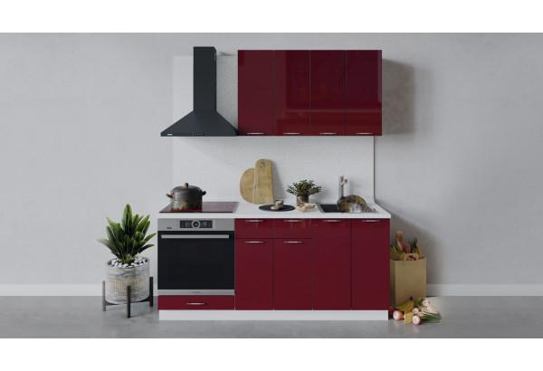 Кухонный гарнитур «Весна» длиной 180 см со шкафом НБ (Белый/Бордо глянец) - фото 1
