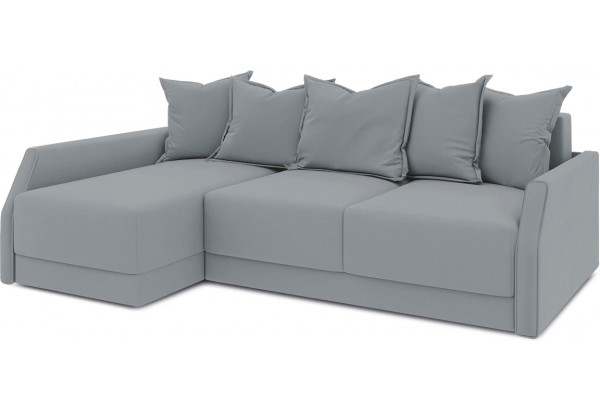 Диван угловой левый «Люксор Slim Т2» (Kolibri Silver (велюр) серый) - фото 1