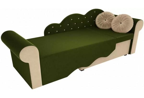 Детская кровать Тедди-2 Зеленый/Бежевый (Микровельвет) - фото 3