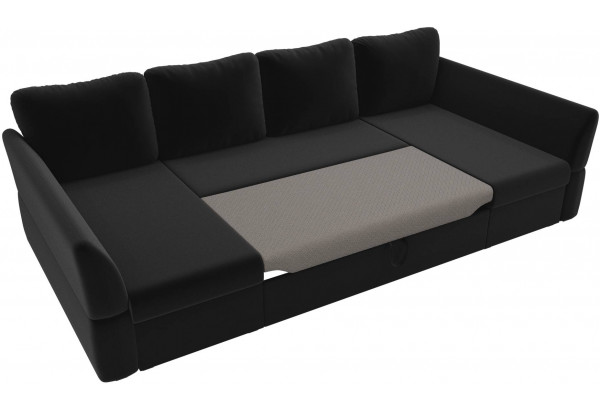 П-образный диван Гесен Черный (Микровельвет) - фото 6