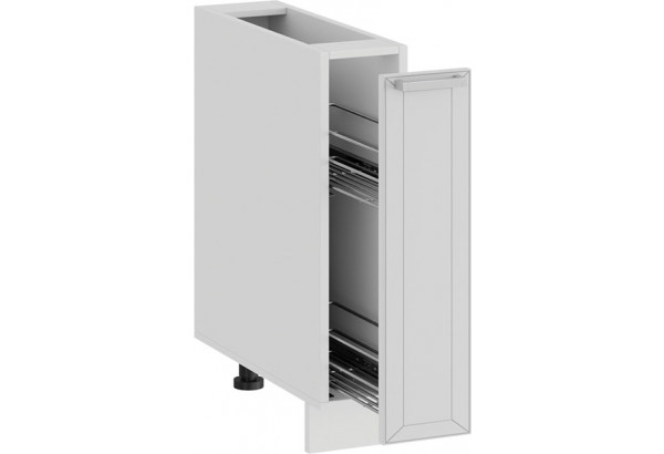 Шкаф напольный с выдвижной корзиной «Долорес» (Белый/Сноу) - фото 2