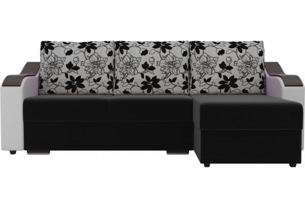 Угловой диван Монако Черный/Белый/Цветы (Микровельвет/экокожа/рогожка) - фото 2