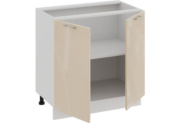Шкаф напольный с двумя дверями «Весна» (Белый/Ваниль глянец) - фото 2