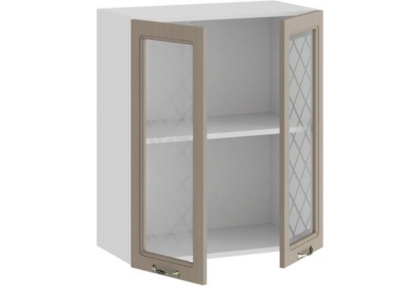 Шкаф навесной c двумя дверями со стеклом «Бьянка» (Белый/Дуб кофе) - фото 2