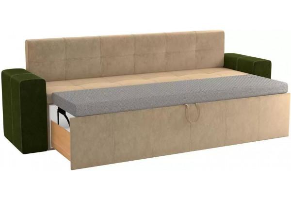 Кухонный прямой диван Династия бежевый/зеленый (Велюр) - фото 2
