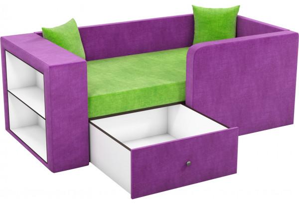 Детский диван Орнелла зеленый/фиолетовый (Микровельвет) - фото 2