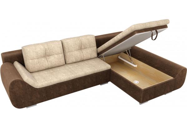 Угловой диван Анталина бежевый/коричневый (Велюр) - фото 6