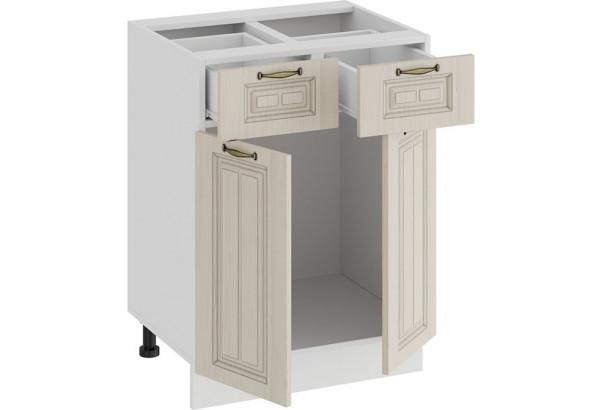 Шкаф напольный с двумя ящиками и двумя дверями «Лина» (Белый/Крем) - фото 2
