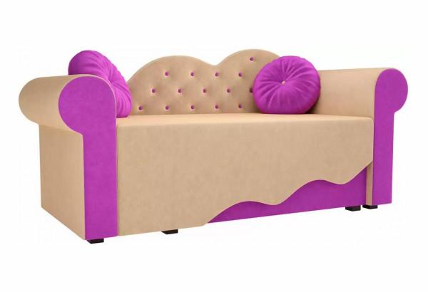 Детская кровать Тедди-2 бежевый/фиолетовый (Микровельвет) - фото 1